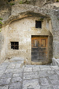 """A Sassi house built into the rock in the ancient town """"I sassi di Matera"""", Basilicata, Italy.  -  Angelo Giampiccolo"""