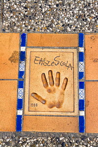 Hand print of Ettore Scola, Italian screenwriter and film director, on the Croisette in front of the Cinema Festival Palace, Cannes, France.  -  Angelo Giampiccolo