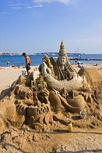 A beautiful sand sculpture being built on Cannes beach, France.  -  Angelo Giampiccolo