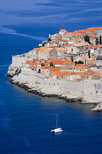 A sailing boat outside the town of Dubrovnik, Croatia.  -  Barry Bland