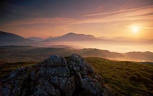 Dawn over Scafell and Eskdale. from Bleatarn Fell Cumbria. UK Lake District NP.  -  David Noton