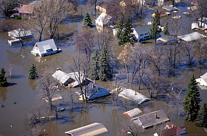 Aerial view of flooded town Grand Forks North Dakota USA Apr-97  -  Grant McDowell