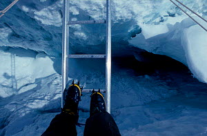Crossing a crevasse ladder in the Khumbu Icefall on Mount Everest Nepal. Model released. Freeze Frame book plate page 143.  -  Doug Allan