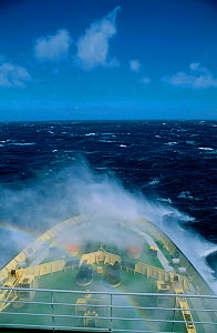 Waves breaking over bow in rough seas Southern Indian Ocean (Russian ice breaker ship)  -  Pete Oxford