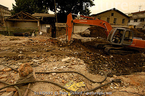 nature picture library - bulldozers removing old buildings in
