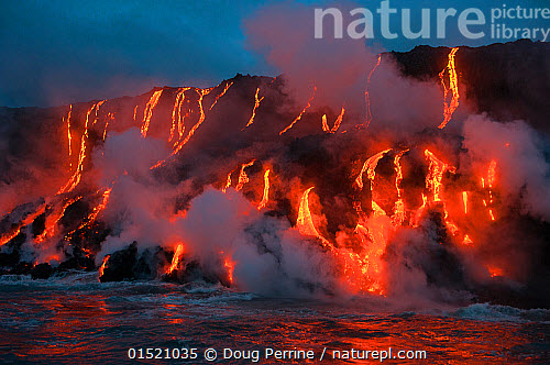 Red Hot Lava From Kilauea Volcano Flowing Into Ocean At West Kailiili Hawaii Volcanoes National