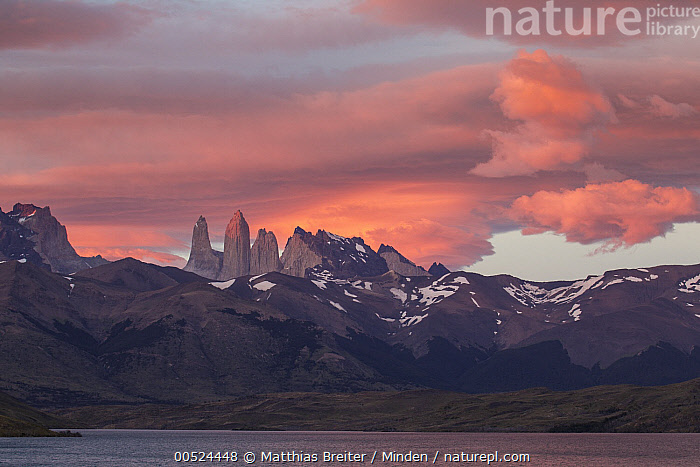Storm clouds at sunrise above Torres del Paine as seens from Azul Lagoon, Torres del Paine National Park, Chile  ,  Azul Lagoon, Chile, Cloud, Cloudy, Color Image, Day, Horizontal, Landscape, Mountain, Mountain Range, Nobody, Outdoors, Peak, Photography, Pink, Sky, Storm, Sunrise, Sunset, Torres Del Paine National Park, Torres Del Paine,Chile  ,  Matthias Breiter