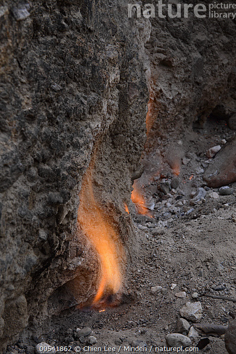 Smokeless fires dance where natural gas seeps from cracks in limestone rocks, Tanjung Api National Park, Ampana, Indonesia  ,  Ampana, Color Image, Day, Fire, Flame, Gas Effluence, Geologic Formation, Limestone, Nobody, Outdoors, Phenomena, Photography, Tanjung Api National Park, Vertical,Indonesia  ,  Chien Lee