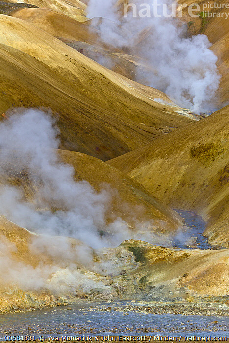 Rhyolite mountains and geothermal vents, Kerlingarfjoll, Iceland, Color Image, Day, Geothermal, Iceland, Kerlingarfjoll, Landscape, Mountain, Nobody, Outdoors, Photography, Rhyolite, River, Vertical,Iceland, Yva Momatiuk & John Eastcott