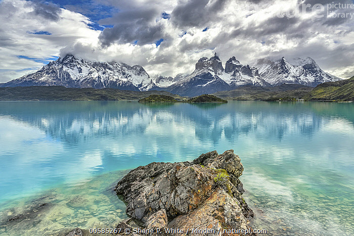 Lake and mountains, Cuernos del Paine, Torres del Paine National Park, Patagonia, Chile, Chile, Cloudy, Color Image, Cuernos del Paine, Day, Horizontal, Lake, Landscape, Mountain, Mountain Range, Nobody, Outdoors, Patagonia, Peak, Photography, Reflection, Torres Del Paine National Park, Shane P. White