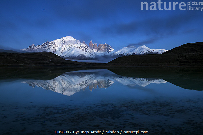 Mountains and lake, Azul Lagoon, Paine Massif, Torres del Paine, Torres del Paine National Park, Patagonia, Chile  ,  Azul Lagoon, Blue Sky, Chile, Color Image, Day, Horizontal, Lake, Landscape, Mountain, Mountain Range, Nobody, Outdoors, Paine Massif, Patagonia, Peak, Photography, Reflection, Snow-covered, Torres Del Paine National Park, Torres Del Paine  ,  Ingo Arndt