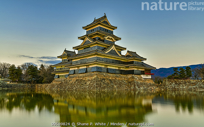 Matsumoto Castle, Japan, Blue Sky, Building, Castle, Color Image, Culture, Day, Historical, Horizontal, Japan, Matsumoto Castle, Moat, Nobody, Outdoors, Photography, Reflection, Shane P. White