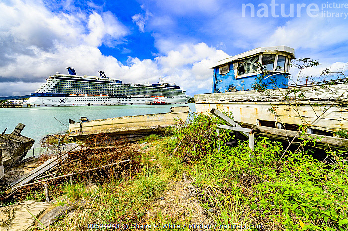 Fishing boat and cruise ship, Antigua, Caribbean  ,  Antigua, Blue Sky, Caribbean, Color Image, Cruise Ship, Day, Fishing Boat, Horizontal, Landscape, Nobody, Outdoors, Photography, Tourism, Tropical  ,  Shane P. White