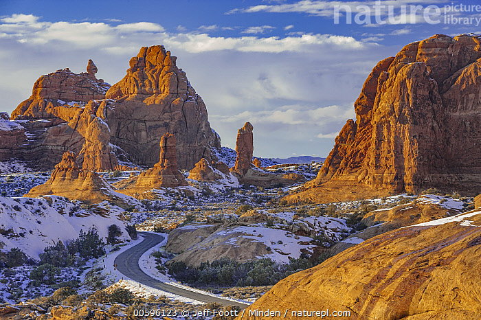 Winding road and sandstone formations, La Sal Mountains, Arches National Park, Utah, Arches National Park, Color Image, Day, Horizontal, La Sal Mountains, Landscape, Nobody, Outdoors, Photography, Road, Rock Formation, Sandstone, Snow, Winter, Jeff Foott