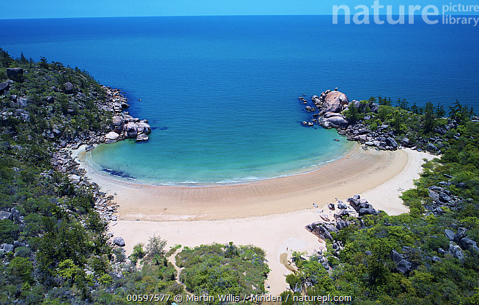 Tropical beach, Balding Bay, Magnetic Island, Queensland, Australia  ,  Aerial View, Australia, Balding Bay, Beach, Blue Sky, Coast, Color Image, Day, Horizon, Horizontal, Landscape, Magnetic Island, Nobody, Outdoors, Photography, Queensland, Tropical  ,  Martin Willis