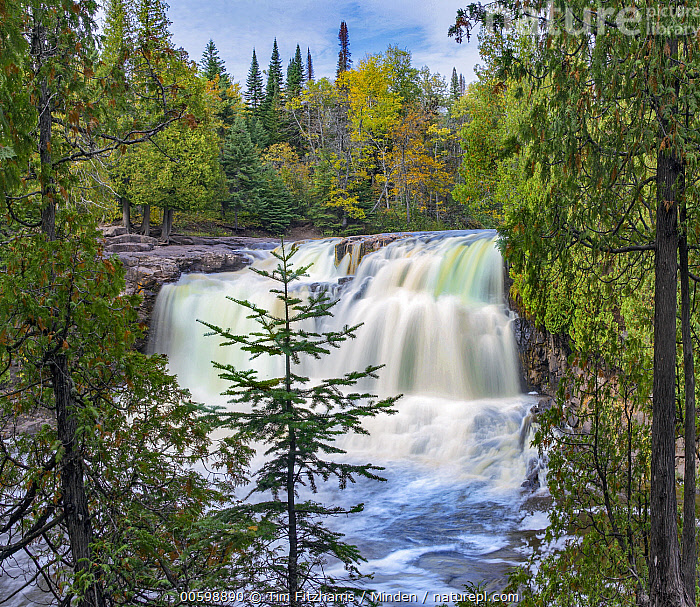 Middle Falls, Gooseberry Falls State Park, Minnesota  ,  Blue Sky, Color Image, Day, Gooseberry Falls State Park, Horizontal, Landscape, Long Exposure, Middle Falls, Minnesota, Nobody, Outdoors, Photography, Square, Time Exposure  ,  Tim Fitzharris