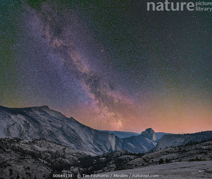 Milky Way over Half Dome from Olmsted Point, Yosemite National Park, California  ,  California, Color Image, Half Dome, Horizontal, Landscape, Milky Way, Mountain, Mountain Range, Night, Nobody, Olmsted Point, Outdoors, Photography, Sky, Star, Tranquility, Yosemite National Park  ,  Tim Fitzharris