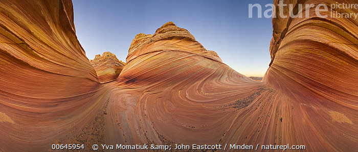 Sandstone rock formations, Coyote Buttes, Paria Canyon, Arizona, 360 view  ,  360 View,Arizona,Blue Sky,Color Image,Coyote Buttes,Day,Desert,Horizontal,Landscape,Nobody,Outdoors,Panoramic,Paria Canyon,Photography,Rock Formation,Sandstone,360 View,Arizona,Blue Sky,Color Image,Coyote Buttes,Day,Desert,Horizontal,Landscape,Nobody,Outdoors,Panoramic,Paria Canyon,Photography,Rock Formation,Sandstone  ,  Yva Momatiuk & John Eastcott