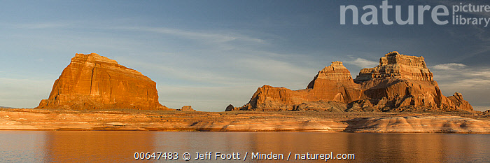 Padres Butte, Lake Powell, Glen Canyon National Recreation Area, Utah  ,  Blue Sky,Color Image,Day,Glen Canyon National Recreation Area,Horizontal,Lake Powell,Landscape,Nobody,Outdoors,Padres Butte,Panoramic,Photography,Utah  ,  Jeff Foott