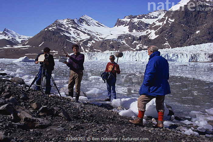 Sync crew filming Sir David Attenborough on South Georgia, 1992, for BBC tv series Life in the Freezer  ,  CHILE,FILMING,GLACIERS,LANDSCAPES,NHU,PEOPLE,Geology  ,  Ben Osborne