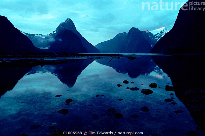 Milford Sound showing 'Mitre Peak' (end of Milford Track walk). Fiordland NP, South Island, New Zealand, LAKES,FIORDLAND,ISLAND,MILFORD,MITRE,MOUNTAINS,REFLECTIONS,SOUND,SOUTH,TRACK,WALK,HORIZONTAL,PEAK,NP,POINT,NATIONAL PARK, Tim Edwards