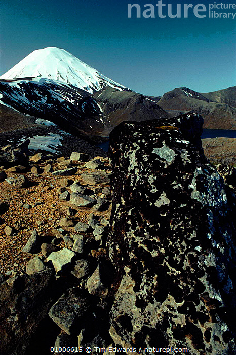 View of Mount Ngauruhoe (volcano). Mount Tongariro NP, New Zealand  ,  MOUNT,TONGARIRO,MOUNTAINS,NGAURUHOE,NP,SNOW,VERTICAL,VOLCANO,VOLCANOS,NATIONAL PARK  ,  Tim Edwards