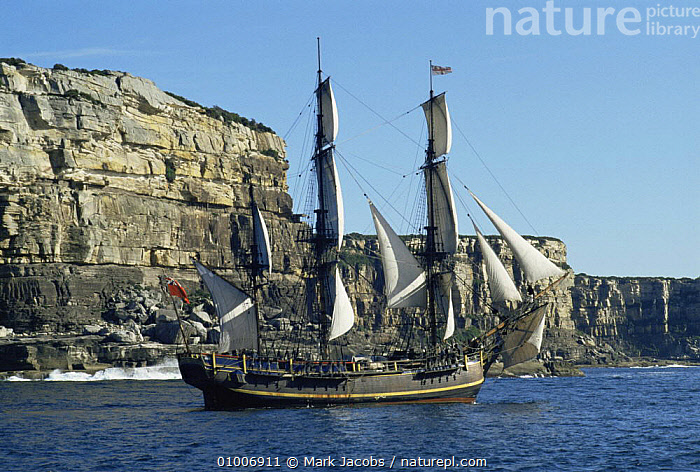 Reconstruction of The Bounty/ The Endeavour for tv series Nomads of the wind, 1992, BOATS,NHU,OCEANIA,PACIFIC,WIND,Weather, Mark Jacobs