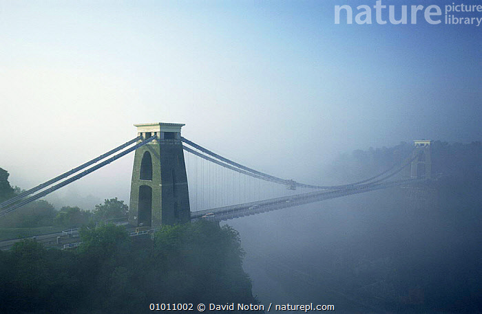 Clifton suspension bridge in mist. Bristol, England., BRIDGES,BUILDINGS,EUROPE,LANDSCAPES,UK,United Kingdom,British, David Noton