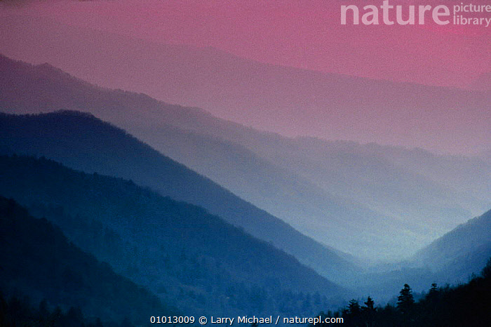 Sunset over Smokey Mountains NP as seen from Cherokee Overlook, Tennessee, USA  ,  ATMOSPHERIC,DAWN,DUSK,LANDSCAPES,MIST,MOUNTAINS,NORTH AMERICA,NP,PEACEFUL,PINK,PURPLE,RESERVE,SUNRISE,SUNSET,USA,Concepts,National Park  ,  Larry Michael