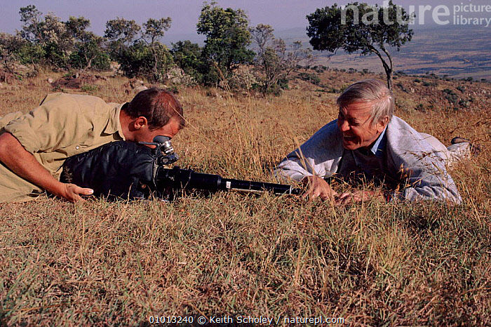 David Attenborough with Gavin Thurston filming grass in Kenya for 'Private Life of plants' 1993  ,  THURSTON,FILMING,EAST AFRICA,KS,HORIZONTAL,PEOPLE,FILMING,IN,WILD,GAVIN,KENYA,GRASS,AFRICA,PLANTS  ,  Keith Scholey