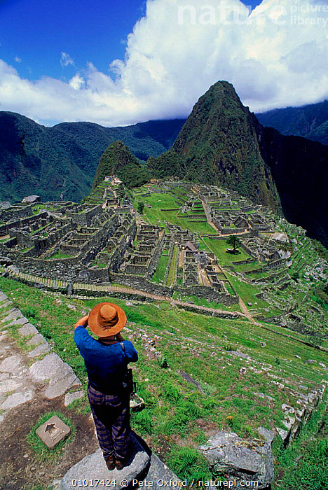 Machu Picchu (ancient Inca ruins) from the south with peak of Huayna Picchu in background. Peru, South America  ,  ANCIENT,ARCHAEOLOGY,BUILDINGS,CULTURES,HOLIDAYS,HUAYNA,INCA,MACHU,MOUNTAINS,PEOPLE,PICCHU,RUINS,VERTICAL,CONCEPTS,SOUTH-AMERICA  ,  Pete Oxford