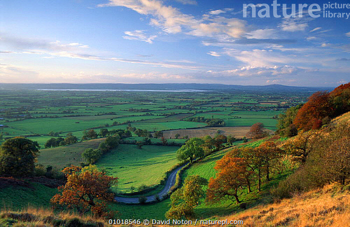 Coaley Peak, nr Stroud, Gloustershire Englanview towards the Severn estuary &  ,  ATMOSPHERIC,AUTUMN,COSTWOLDS,COUNTRYSIDE,FARMLAND,FIELDS,FLOOD PLAIN,HEDGEROWS,LANDSCAPES,OUTSTANDING,PATCHWORK,PEACEFUL,RIVERS,ROADS,VALLEYS,WALES,Europe,Concepts,ENGLAND  ,  David Noton