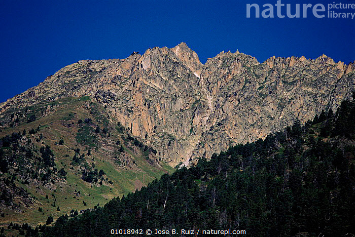Aigues Tortes, St. Mauricio NP, Pyrenees, Spain.  ,  AIGUES,GEOLOGY,MAURICIO,MOUNTAINS,NATIONAL PARK,NP,PLANTS,PYRENEES,ROCK FORMATIONS,RR,TORTES,TREES,Europe  ,  Jose B. Ruiz