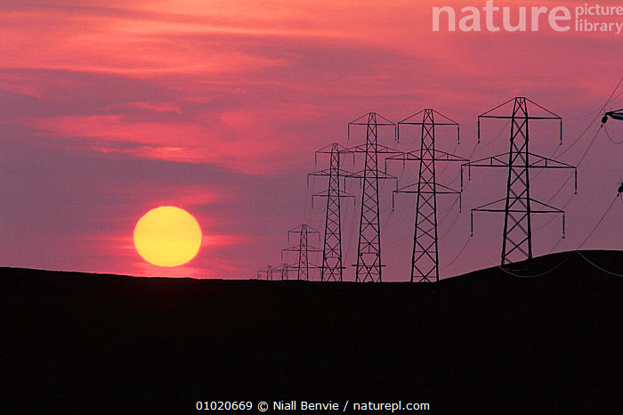 Power transmission. Pylons at sunset in Inverness, Scotland. Tomatin, ATMOSPHERIC,ENERGY,EUROPE,INDUSTRY,INTERESTING,MACHINERY,OUTSTANDING,RED,SCOTLAND,SUNSET,UK,United Kingdom,British, Niall Benvie