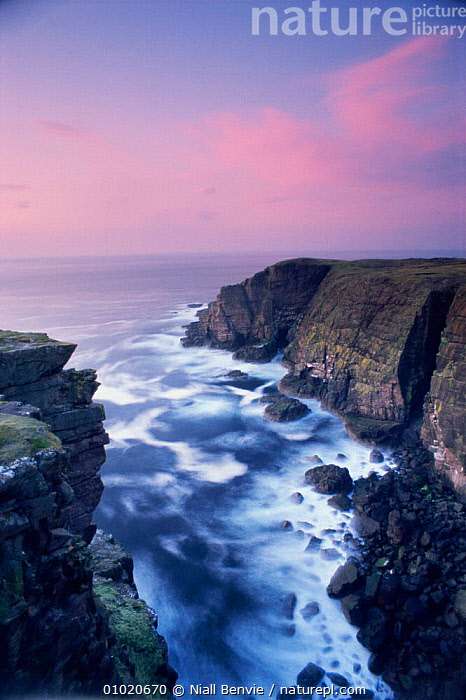 Dusk at the coast in Sutherland. Scotland., ARTY SHOTS,ATMOSPHERIC,CLIFFS,COASTS,COLOURFUL,DUSK,EUROPE,HOLIDAYS,OUTSTANDING,PEACEFUL,SCOTLAND,SKY,SUNSET,UK,WAVES,United Kingdom,Concepts,Geology,British, Niall Benvie