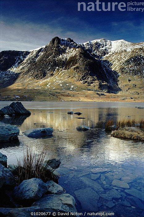Llyn Idwal, the Devil's Kitchen. Snowdonia, Wales, UK., MOUNTAINS,IDWAL,,ARTY SHOTS,LAKES,SNOWDONIA,WINTER,UK,REFLECTIONS,DNO,PEACEFUL,VERTICAL,LLYN,EUROPE,UNITED KINGDOM,CONCEPTS,BRITISH,WALES, David Noton