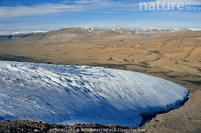 Aerial view of glacier, Sverdrup Pass, Ellesmere Island, Canadian Arctic. 1994., AERIALS,ARCTIC,CANADA,FROZEN,GLACIAL FEATURES,GLACIERS,ICE,LANDSCAPES,NORTH AMERICA,TUNDRA,Geology, NEIL NIGHTINGALE