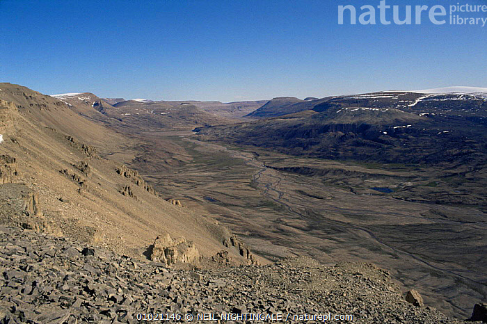 Barren glacial valley of Ellesmere Island, Canadian Arctic, ARCTIC,BARREN,CANADA,DRY,GLACIAL FEATURES,LANDSCAPES,NORTH AMERICA,TUNDRA,VALLEYS,Geology, NEIL NIGHTINGALE