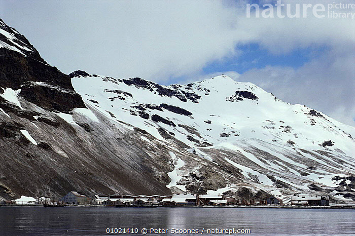 Abandonned whaling station at Stromness, South Georgia, South Atlantic Islands, ANTARCTICA,BUILDINGS,COASTS,HUNTING FOOD,INDUSTRY,LANDSCAPES,MARINE,MOUNTAINS,POLAR,sea,SNOW,south atlantic islands,WHALING,WINTER,USA, PETER SCOONES