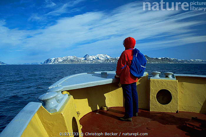 Tourist boat arrives in Hornsund Svalbard, Spitsbergen, Norway, ARCTIC,boat,coastal waters,COASTS,deck,EUROPE,LANDSCAPES,NORWAY,PEOPLE,SCANDINAVIA,scenery,sea,SNOW, Scandinavia, Scandinavia, Scandinavia, Scandinavia, Christoph Becker