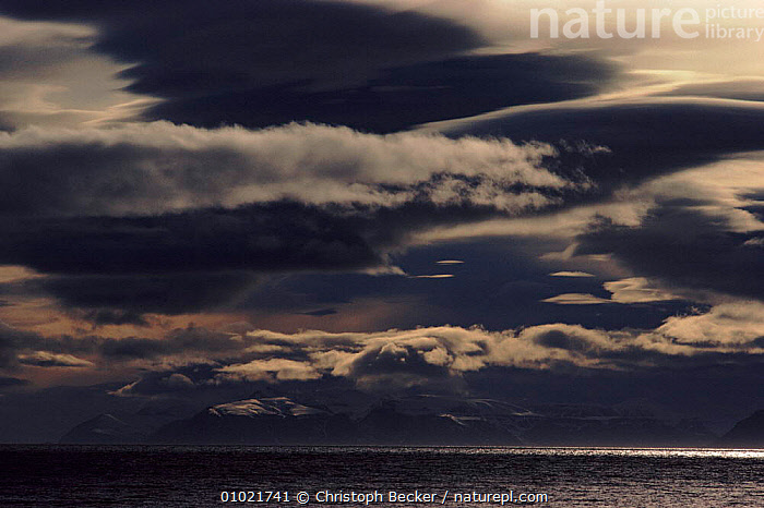 Icefjord area near Longyearbyen at night, Svalbard. Norway, ARCTIC,ATLANTIC,CBE,CLOUDS,ICEFJORD,LONGYEARBYEN,NEAR,NIGHT,OCEAN,SCANDINAVIA,SEA,SVALBARD,WEATHER,Europe, Scandinavia, Christoph Becker