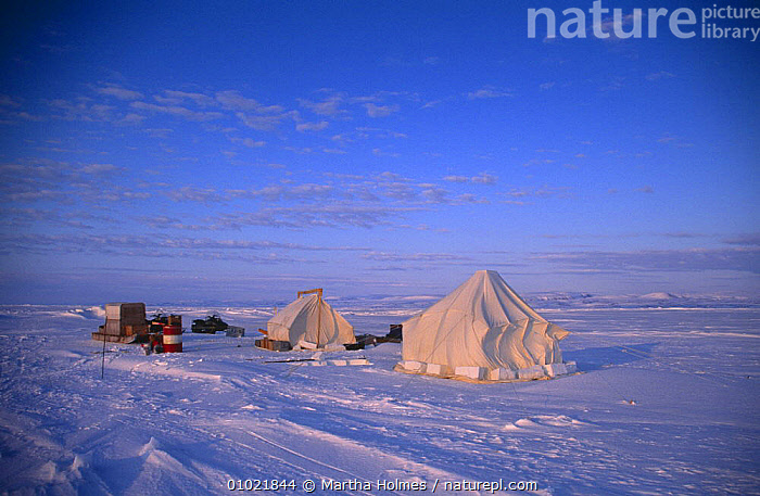 """Film crew's camp on sea ice, on location for BBC television programme """"Polar Bear Special"""", Admiralty Inlet, Canada, May 1996, ARCTIC,BUILDINGS,CANADA,FILMING,FILMING IN WILD,ICE,LANDSCAPES,NHU,PEOPLE,RESEARCH,SNOW,SPRING,TENT,North America, Martha Holmes"""