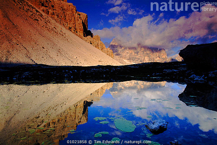 Mountain reflection, Dolomites, Italy, ALPINE,ATMOSPHERIC,CLOUDS,CONCEPTS,EUROPE,GEOLOGY,HOLIDAYS,HORIZONTAL,LAKES,LANDSCAPES,MOUNTAINS,OUTSTANDING,PEACEFUL,REFLECTIONS,ROCK FORMATIONS,SKY,TE,WEATHER, Tim Edwards