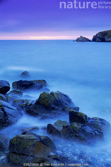 Sunset from shoreline, near Strumble Head, Dyfed, Pembrokeshire National Park, Wales, coastal,COASTS,DUSK,EUROPE,LANDSCAPES,littoral,MARINE,ROCKS,seascapes,SUNSET,UK,VERTICAL,WALES,United Kingdom,Intertidal,British, Tim Edwards