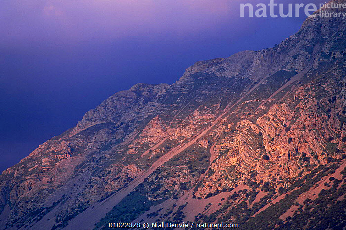 Sunset over Papoura mountains to east of Vassiliki, Crete April 1996, DUSK,EUROPE,Evening,GREECE,HIGHLANDS,LANDSCAPES,MEDITERRANEAN,MOUNTAINS,ROCK FORMATIONS,sunlight,SUNSET,Geology, Niall Benvie