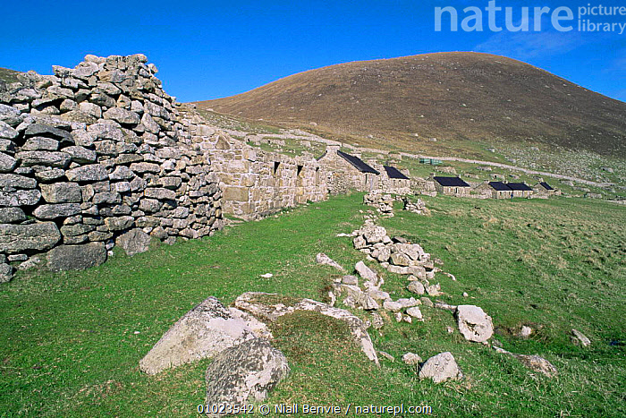 Ancient stone village, St Kilda, Outer Hebrides, Scotland., BUILDINGS,EUROPE,MOORLAND,SCOTLAND,TRADITIONAL,UK,United Kingdom,British, Niall Benvie