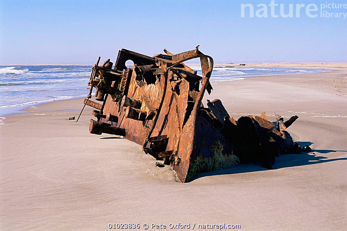 Shipwreck of The Winston, 1970. Skeleton Coast, Namibia., AFRICA,BEACHES,BOATS,COASTS,DESERTS,POLLUTION,SOUTHERN AFRICA, Pete Oxford