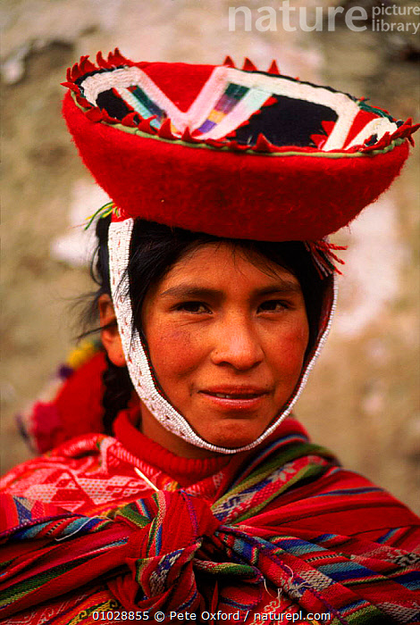 Local Indian woman in traditional dress, Urubamba Valley, Peru., AMERICA,DRESS,FACES,FEMALE,FEMALES,HAT,INDIAN,PEOPLE,PO,PORTRAITS,RED,SOUTH,SOUTH AMERICA,TRADITIONAL,TRIBES,URUBAMBA,VALLEY,VERTICAL,WOMAN,SOUTH-AMERICA, Pete Oxford