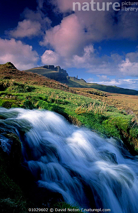 Trotternish waterfall and Old Man of Storr, Isle of Skye, Scotland., HIGHLANDS,LANDSCAPES,OUTSTANDING,ROCK FORMATIONS,VERTICAL,WATERFALLS,Geology,SCOTLAND,Europe , Inner Hebrides,UK,United Kingdom, David Noton