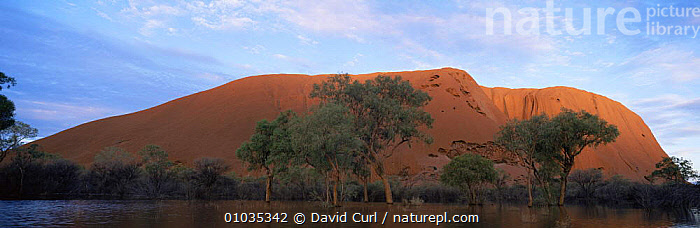 Ayers Rock surrounded by water in wet season, Uluru NP, Northern Territory, Australia.  ,  AUSTRALASIA,AUSTRALIA,DESERTS,LANDMARK,LANDSCAPES,NP,RED,ROCK FORMATIONS,WET SEASON,Geology,National Park  ,  David Curl